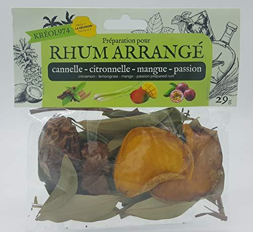 Préparation pour rhum arrange ile de la REUNION saveur CANNELLE - CITRONNELLE - MANGUE - FRUIT DE...