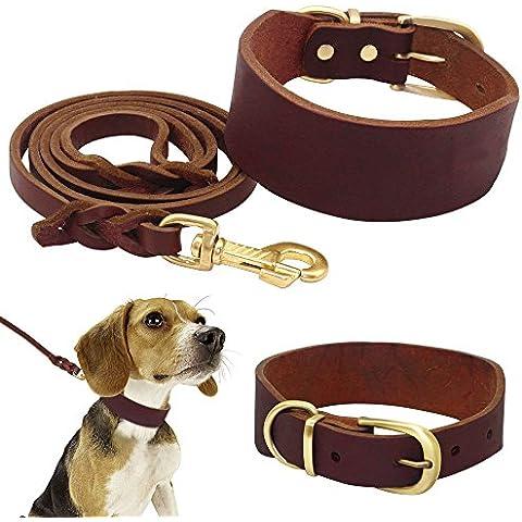 Starvy (TM) 2Inch larga vera pelle fatta a mano collare di cane K9 guinzaglio fissato per il Walking giornaliera Walking Formazione Fit di medie e grandi animali - Collare K9 Pelle