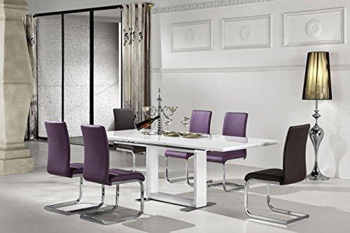 Esstisch Esszimmertisch 120x80 cm, Ausziehbar auf 170, Farbe: Weiß