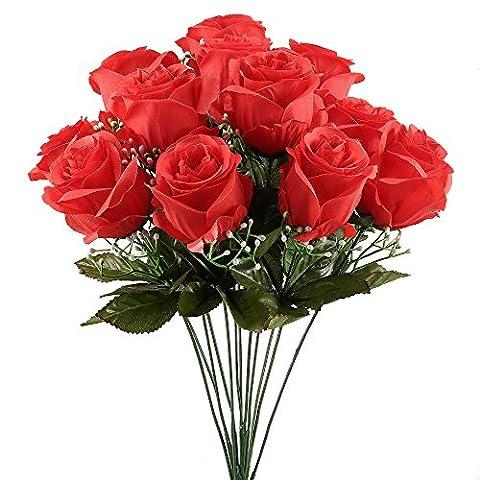 MIHOUNION 12 Heads Artificial Silk Rose Bouquet Arrangements Bride Wedding