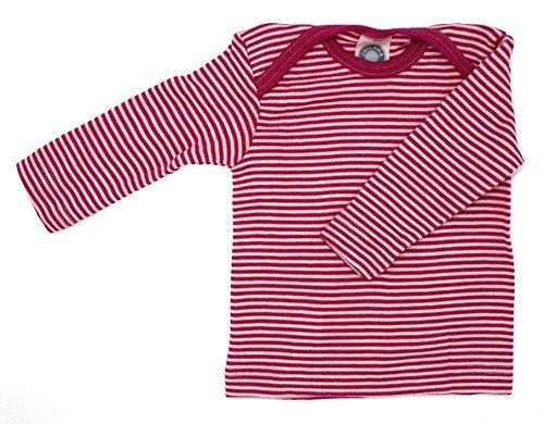 Cosilana Baby Schlupfhemd 1/1 Arm, Größe 50/56 in geringelt Pep-Pink Natur aus 70% Schurwolle kbT, 30% Seide, ein Angebot der Nhos Service und Vertriebs GmbH - Wollbody