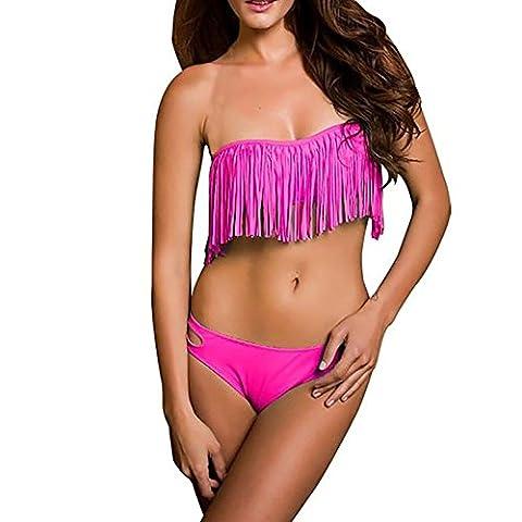 Pinkyee Women's Sexy Solid Color Tassel Fringe Bikini Set Swimwear Swimsuit Rose Large