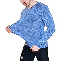 Camiseta Compresión Ropa Deportiva Hombre Manga Larga de Aptitud Jogging Tops T-Shirts Camiseta de Deporte para Gimnasio Running Fitness Entrenamiento Yoga