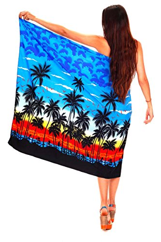 Funky Hawaii Sarong | Pareo Cover-Up | Einheitsgröße | Damen | Strand Palmen Meer | Multiple Farben Blau