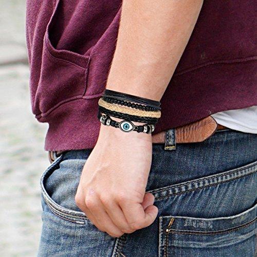 5 Stück Herren Armband Leder Armband Armbänder Schmuck Set schwarz , OIDEA Vintage Breite Geflochten Lederarmband Surferarmband Armreifen , verstellbar - 4