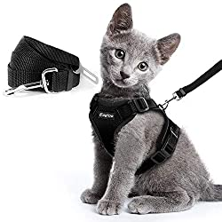 Escape Proof Cat Harness and Leash Set for Walking Car Seat Belt Adjustable Harness with Reflective Strap Soft Mesh Vest Harness for Cats Kitten Puppy Rabbit, Black XS
