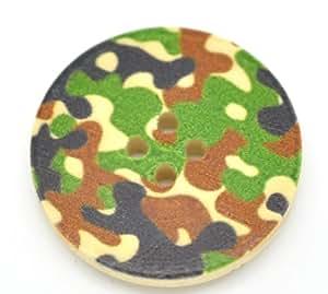 Lot de 10Camouflage armée Impression 4trous ronds en bois Boutons de 30mm, pour couture, scrapbooking, confection, artisanat, fabrication de bijoux, shabby chic, tricot,