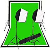 CowboyStudio Photography Photo Studio Video 600 Watt Quick Softbox Lighting Kit with 10 Feet x 12 Feet Black, White and Green Muslins Backdrops and Background Support System with Case