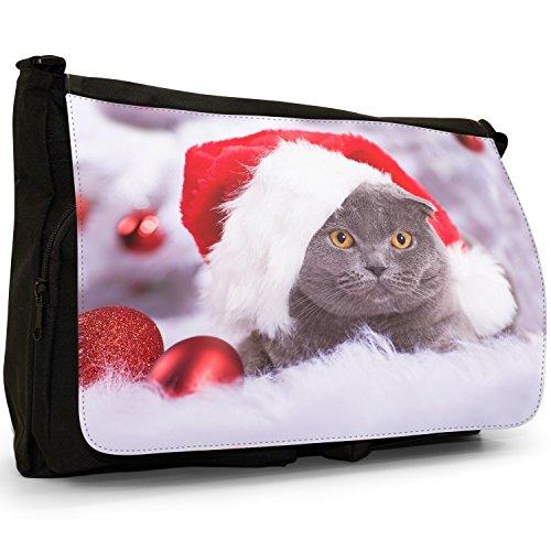 Gattini Nero Grande borsa scuola nero Cats Black Cat Ready For Christmas Wearing Santa Hat