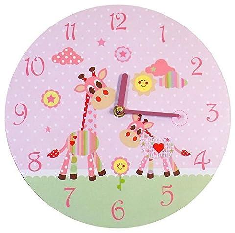 PINK RED POLKA HEART GIRAFFE SUNSHINE CHILDRENS WALL CLOCK 26 X 1 X 26CM