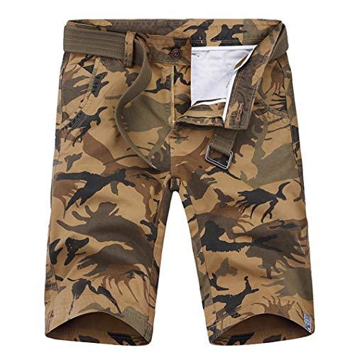 MäNner Casual Shorts Overalls Lose Multi-Pocket Camouflage ReißVerschlussknopf Gerade Street Wear TäGliche Arbeit FüNf Hosen -
