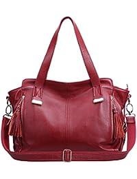 Dissa Q0470,femme rouge véritable de modèle de sac à main en cuir 44x30x12 cm (B x H x T)