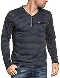 BLZ jeans - Sweat homme navy rayé col V