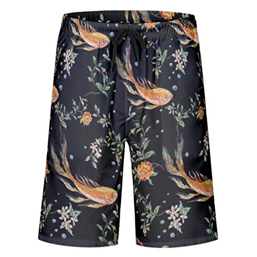 Lindosinsi Fish Pattern Printing Swim Trunks Casual Running Loose - Full of Fish with Elastic Waist for Men & Boys white2 m