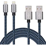 SURWELL Lightning zu USB Kabel [2-Pack]*3m iphone Kabel Ladekabel Nylon für iPhone 6 Plus 6S SE Plus 5S 5C 5, iPad Air 2, Mini 3, iPod 5 und iPod Nano 7 (Schwarz-Blau)