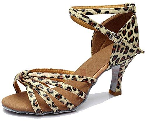 Minetom Damen Pumps Einfarbig Riemen Satin Tanzschuhe Ballsaal Latein Schuhe 5cm Absatz Tango Tanzschuhe mit Absatz Rumba Samba Cowboy Stierkampf Tanzschuhe ( Leopard EU 39 ) Leopard Satin Pumps