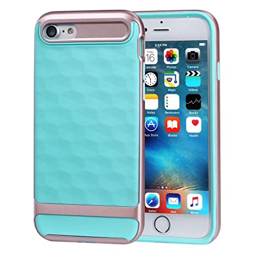 iPhone 8 4.7 Case Antiurto, iphone 7 Custodia Silicone, Ekakashop Moda 3D Gel Cristallo Antiscivolo Morbida TPU Silicone Gomma Cover per iPhone 8, Antiscivolo Ultra Slim Flexible Shockproof Protettiv Mint Green Gold Edge