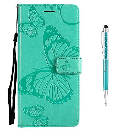 Grandoin Nokia 5 Hülle, Handyhülle im Brieftasche-Stil für Nokia 5 Handytasche PU Leder Flip Cover Schmetterling Muster Design Premium Book Case Schutzhülle Etui Case (Grün)