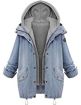 Inverno Donna 80% Cotone + 20% Poliestere Caldo Colletto Cappotto Giacca Denim Trench Parka Outwear di Kangrunmy