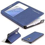 Urcover Original Samsung Galaxy Note Edge Hülle View Case Schutzhülle [Deutscher FACHHANDEL] Handyhülle Schale Case Etui Flip Dunkel Blau