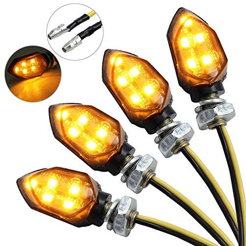 Justecheu 12V LED Smoked Microblinker Miniblinker Blinker Motorrad 4 Stück/E-Prüfzeichen