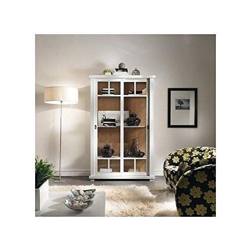 Bibliothèque apothicaire Dispensa vitrine bois massif Country Design Laqué Blanc – comme photos blanc et ivoire