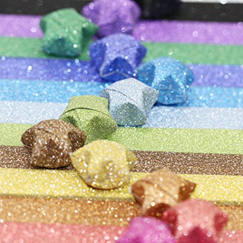 Origami Papier Set, Origami Stars Papier Paket DIY Papier, 360Blatt-18Farben (Glitzer Origami Sterne)