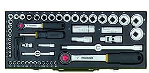 Proxxon 23040 Komplett-Steckschlüsselsatz 1/4 Zoll + 1/2 Zoll, 56-teilig