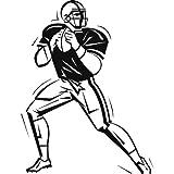 Futbol americano deporte y aficiones arte de pared 02 pegatinas – 60cm Altura – 24cm Ancho – Negro Vinilo