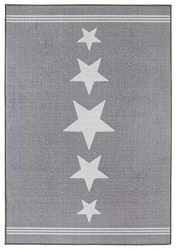 andiamo Webteppich Flachgewebe Sternenteppich Stars Sternenhimmel - Wohnzimmer Schlafzimmer Flur – Oeko-Tex 100 schadstofffrei pflegeleicht, strapazierfähig wärmedurchlässig - hellgrau  100cm x 150cm