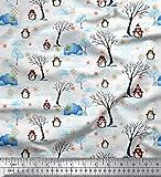 Soimoi Weiß Baumwolljersey Stoff Baum, Pinguin & iglou
