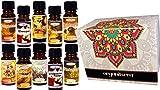 Set di 10 oli essenziali profumati per aromaterapia in confezione regalo. Organiterra. Aromi assortiti immagine