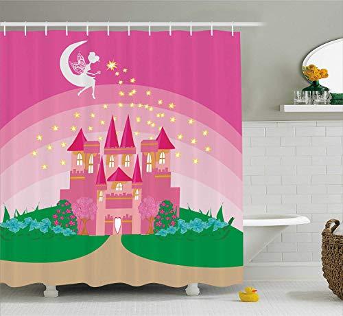 ALLMILL Magic Duschvorhang, Magic Fantasy Märchen Prinzessin Schloss mit Pixie in Sky Fictional Dream Kingdom, Stoff Bad Dekor Set mit Haken, grün rosa