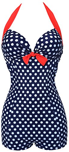 Bettydom Damen Bikini Bademode Retro mit Bein Hotpants hohe Taillen Badeanzug (M(EUR 34-36), Blaurot)