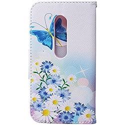 CaseHome Compatible For Motorola Moto G3 Wallet Funda,Carcasa PU Leather Cuero Suave con Flip Case Billetera con Tapa Libro Tarjetas para Motorola Moto G3 - Mariposa Azul y de la Margarita