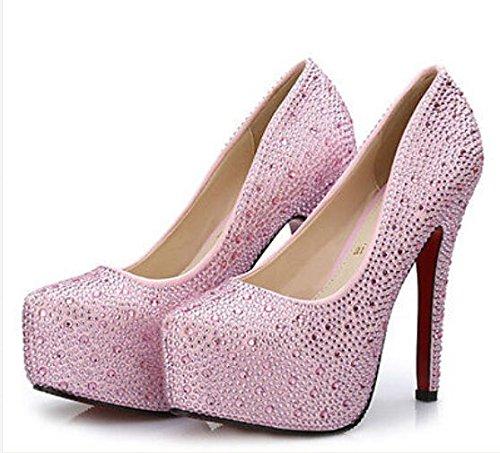 0456292d3bae63 XINJING-S Frauen Strass stiletto Diamond satin High Heel platform Damen  Hochzeit Schuhe Rosa