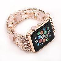 Banda di orologio da Apple, per la banda in acciaio inossidabile per la sostituzione delle donne Serie 2/1 Cinturino in agata di perla (38mm, Pink)