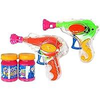 com-four® Pistola de Burbujas de jabón 2X de plástico, Cada una con 20 ml de Agua con Burbujas de jabón, máquina de Burbujas de jabón Transparente para niños y Adultos (02 Piezas - Mix2)