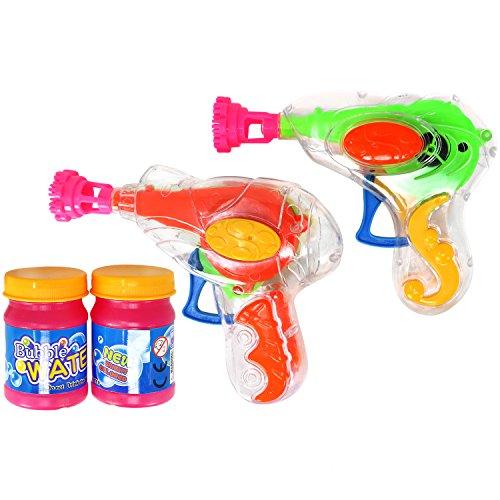 com-four® 2er Set Seifenblasen-Pistole aus Kunststoff mit je 20 ml Seifenblasenwasser (02 Stück - Mix2)