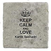 Keep Calm and love Kartik Seshadri - Marble Tile Drink Coaster