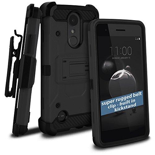 celljoy Fall Kompatibel mit LG Aristo 2, LG Tribute Dynasty, LG Zone 4(+ Mehr) [Tactical Carbon Hybrid] [Ultra Strong Klappetui] [Standfuß] Extreme Schutz Holster ((stoßfest)) Cover -, Schwarz T-mobile Carbon