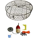 """KUFA Stainless Steel Crab Trap With Zinc Anode & Accessory Kit (100' Lead CoreRope, Clipper,Harness,Bait Case & 11"""" Red/White Float) CT100+CAQ1+ZIN1K"""