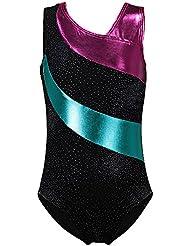 Rayures Motif Athlétique Dancewear Gymnastique Justaucorps pour Fille Enfant 5 Couleurs