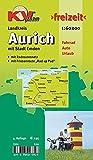 Aurich Landkreis mit Stadt Emden: 1:60.000 Freizeitkarte mit beschildertem Radroutennetz und touristischen Radrouten der Region (KVplan-Freizeit-Reihe)