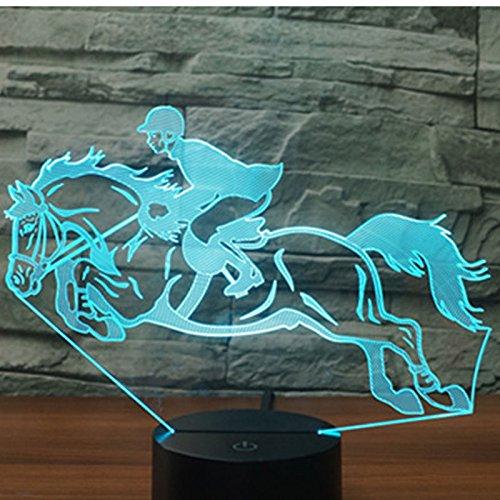 Jinson well 3D pferd Nachtlicht Lampe optische Nacht licht Illusion 7 Farbwechsel Touch Switch Tisch Schreibtisch Dekoration Lampen perfekte Weihnachtsgeschenk mit Acryl Flat ABS Base USB Kabel kreatives Spielzeug