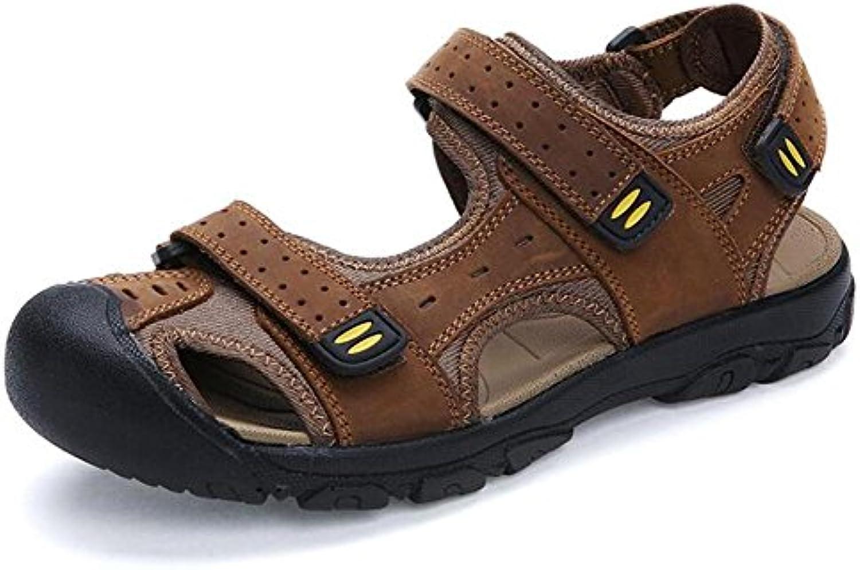 XIE Zapatos de hombre Sandalias de cuero genuino Sandalias fuertes de verano Velcro Correas Chanclas Senderismo  -