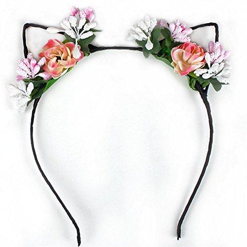 Doitsa 1 Stück Haarband Katze Ohren mit Gefälschte Blumen Stirnband Hochzeit Braut Stirnband Charming Haarreif Kopfband Kostüm Accessories