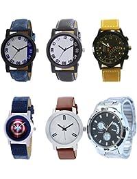 NEUTRON Contemporary 3D Design Captain America Black Blue And Brown Color 6 Watch Combo (B40-B41-B42-B43-B44-B83...