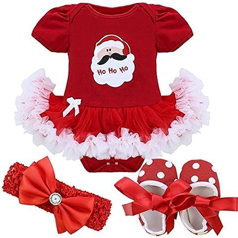 FEESHOW Trajes De Los bebés la Navidad Tutu mameluco Con banda de sujeción y la cuna Zapatos SZ 0-9 Meses