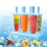 Stieleisformen Eis am Stiel 6 Stück Plastik Popsicle Eisformen aus Silikon BPA Frei, Eisformen für Kinder und Erwachsene